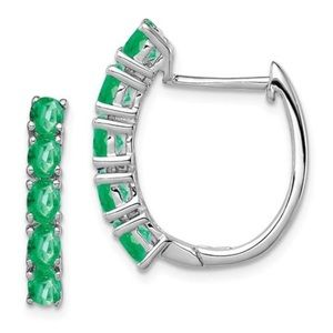 Jewelry - 925 Sterling Silver Emerald Hoop Earrings
